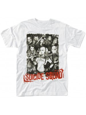 Suicide Squad - Squad Pose Red Text (T-Shirt)