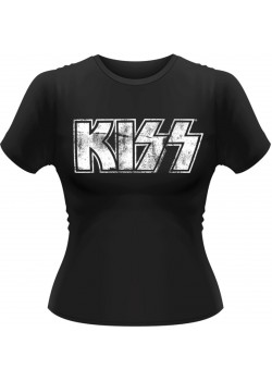 Kiss - Distressed Classic Band Logo (Womens Girlie T-Shirt)