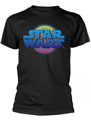 Star Wars - Classic Film Logo Neon Death Star (T-Shirt)