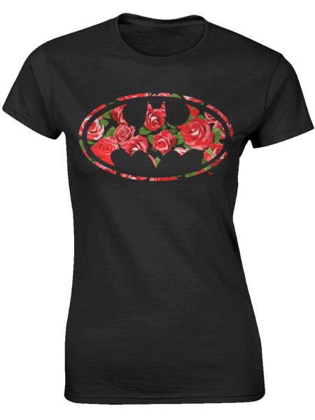 Batman - Flower Batlogo Crest (Womens Girlie T-Shirt)