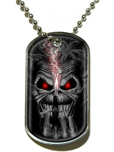 Iron Maiden - Eddie Candle Finger (Dog Tag Pendant)