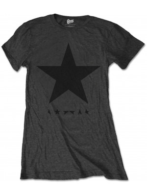David Bowie - Blackstar Album Cover Black On Grey (Womans Girlie T-Shirt)