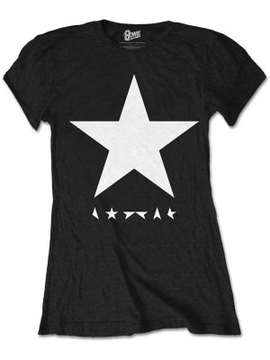 David Bowie - Blackstar Album Cover White On Black (Womans Girlie T-Shirt)