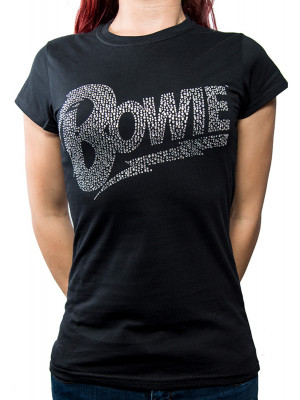 David Bowie - Classic Flash Logo Rhinestone (Womans Girlie T-Shirt)