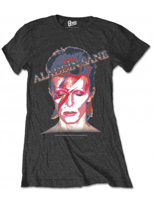 David Bowie - Aladdin Sane Album Cover Black (Womans Girlie T-Shirt)