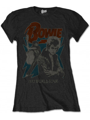David Bowie - 1972 World Tour (Womans Girlie T-Shirt)