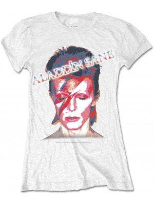 David Bowie - Aladdin Sane Album Cover White (Womans Girlie T-Shirt)